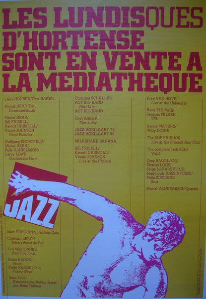 1980s French Contemporary Poster, Les Lundisques D'Hortense