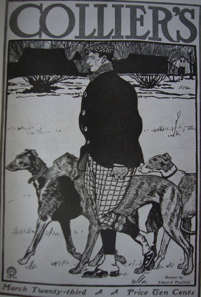 1924 Original American Art Deco Poster, Colliers Weekly Cover 'Man and Hounds' - Penfield