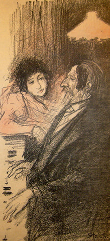1895 Original French Art Nouveau Poster, Gil Blas Song Sheet 7 April 1895, Contemplative Couple - Steinlen