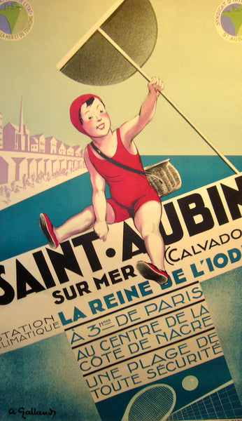 1940s Original French Art Deco Poster, St. Aubin sur mer - Galland