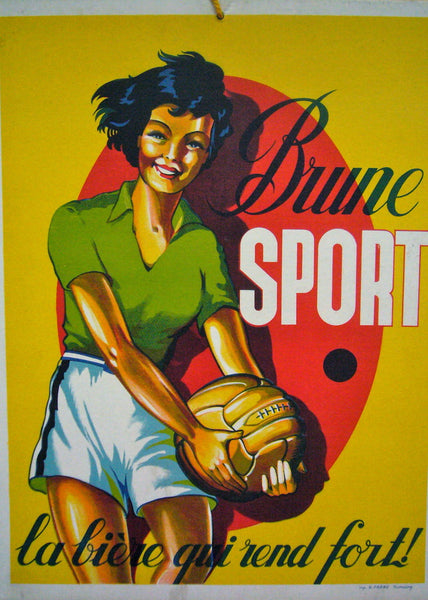 1950s Original Vintage French Advertising Carton, Brune Sport Beer