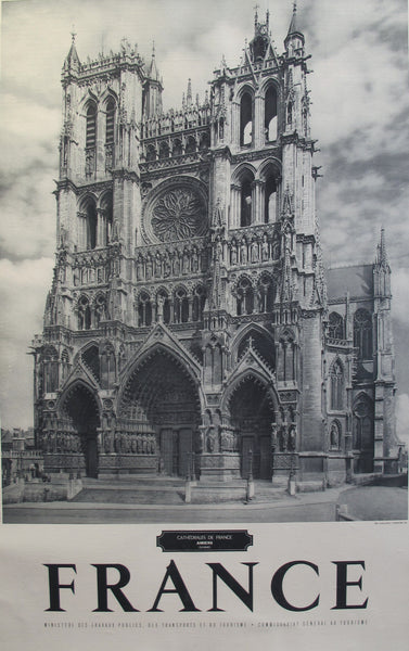 1950s Vintage French Travel Poster, France, Amiens Cathedral, Somme