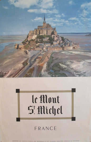 1950s Vintage French Travel Poster, Le Mont St. Michel