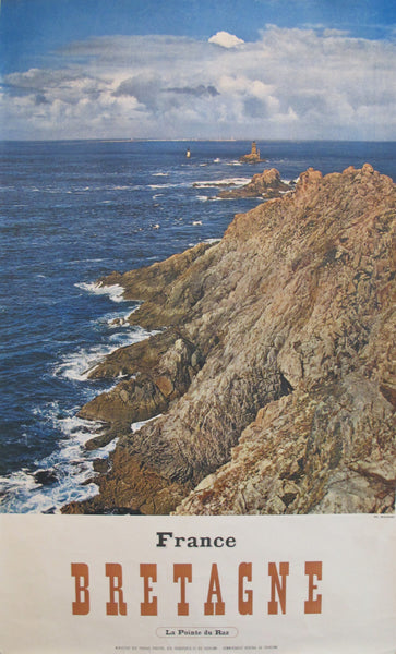 1950s Vintage French Travel Poster, Bretagne, Pointe du Raz