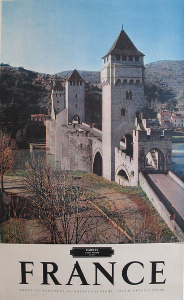 1950s Vintage French Travel Poster, Cahors, Le Port Valentre