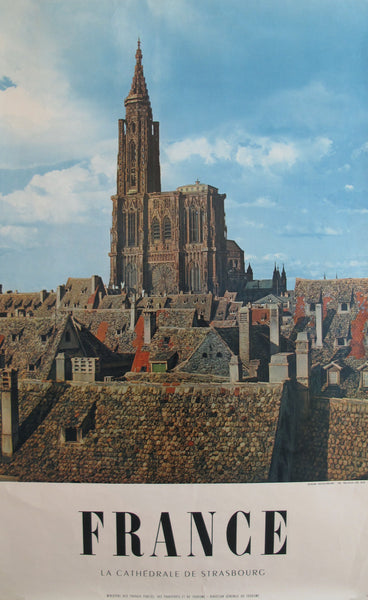 1950s Vintage French Travel Poster, Cathedrale de Strasbourg