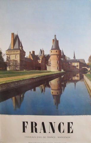 1950s Vintage French Travel Poster, Chateaux, Maintenon