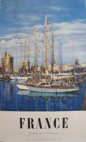 1950s Vintage French Travel Poster, Le Port de la Rochelle