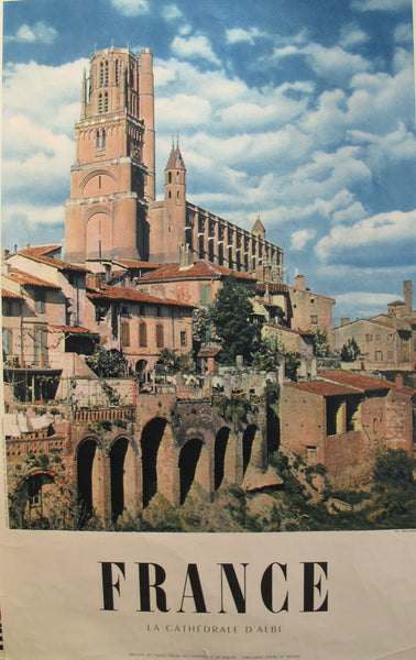 1950s Vintage French Travel Poster, Cathedrale d'Albi
