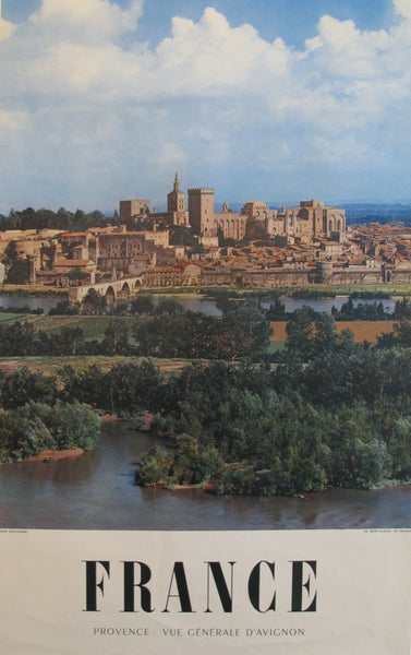 1950s Vintage French Travel Poster, Provence, General Vue Avignon