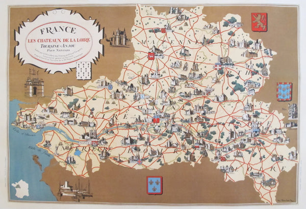 1930s Vintage French Map, Chateaux de la Loire