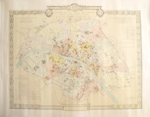1887 Original French Map of Paris, La Ville de Paris Periode Revolutionaire 1790-1794