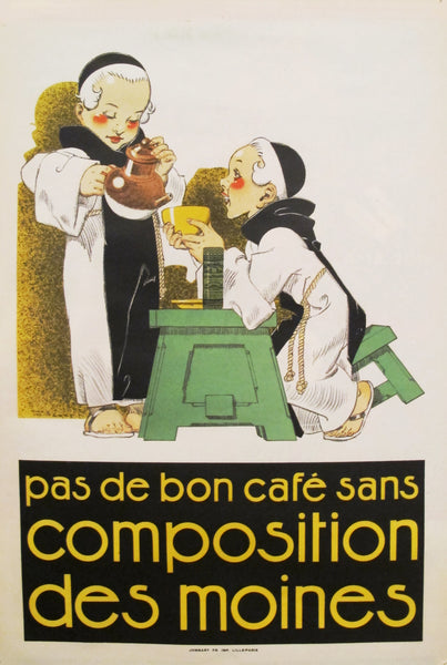 1920s French Art Deco Poster, Pas de Bon Cafe