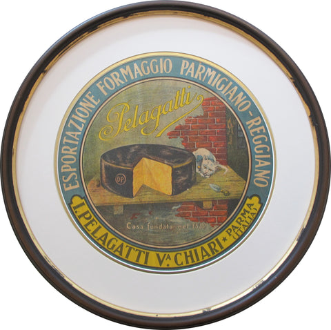 1930s Framed Vintage Italian Cheese Label, Pelagatti (cat)