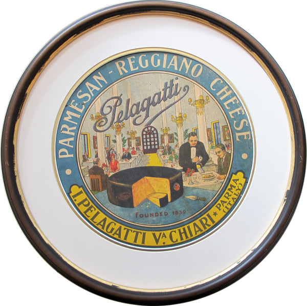 1930s Framed Vintage Italian Cheese Label, Pelagatti (waiter)