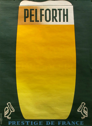 1960s Original French Beer Poster, Pelforth Beer