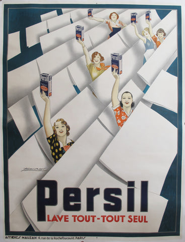 1935 Vintage Achille Mauzan French Poster, Persil