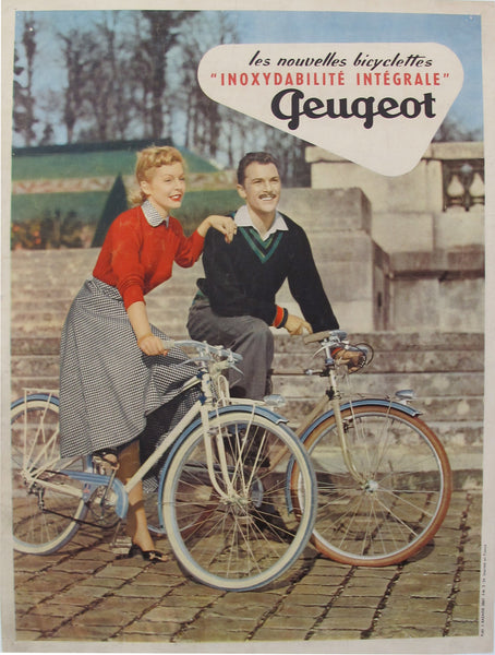 1954 Original French Bicycle Poster, Peugeot - Bazaine