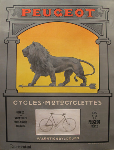 1900 Vintage French Peugeot Cycling Poster, Lion