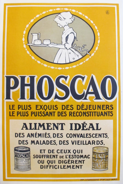 1920s Vintage French Food Poster, Phoscao