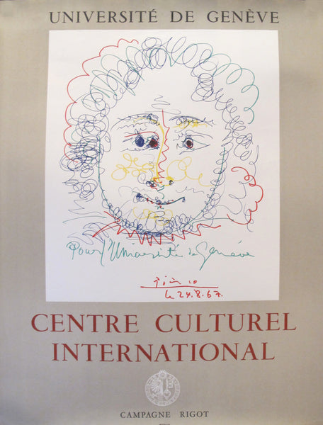 1968 Original Picasso Exhibition Poster, Centre Culturel International