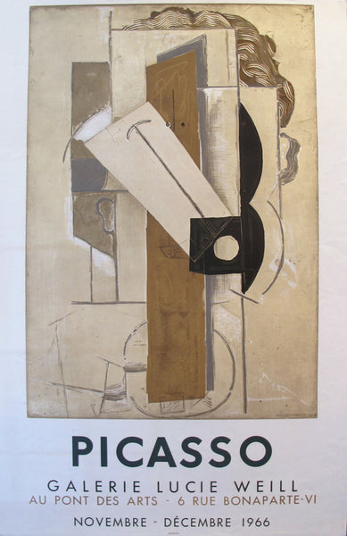 1966 Pablo Picasso Exhibition Poster, Galerie Lucie Weill