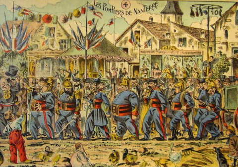 1890s Original French Game Sheet, Les Pompiers De Nanterre