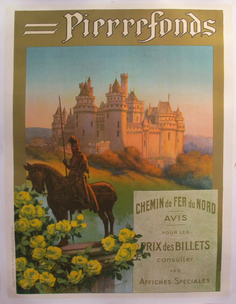 1920s Original French Art Deco Travel Poster, Pierrefonds