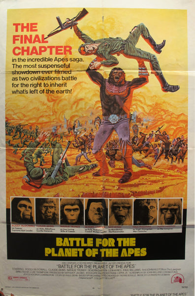 1973 Original Movie Poster, Battle for the Planet of the Apes