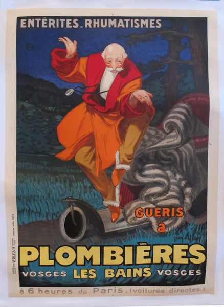 1931 Vintage French Travel Poster, Plombieres Les Bains by Jean D'Ylen