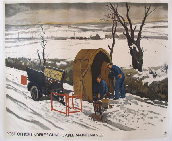 1930's Original Post Office Poster - Post Office Underground Cable Maintenance