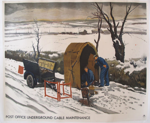 1930's Original Post Office Poster, Post Office Underground Cable Maintenance