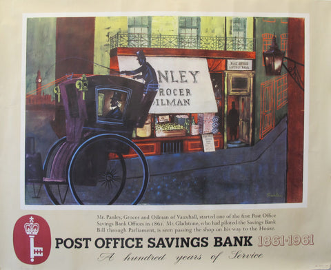 1961 Original British Poster, Post Office Savings Bank (Horse + Carriage)