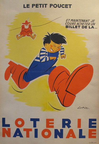 "1954 French Poster, Loterie Nationale Advertisement ""Le Petit Poucet"" - GAD"