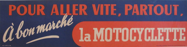 1938 French Vintage Bicycle Banner, Pour aller vite partout