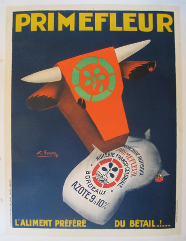 1920s Original French Art Deco Advertisement Poster - PrimeFleur - Livestock Feed