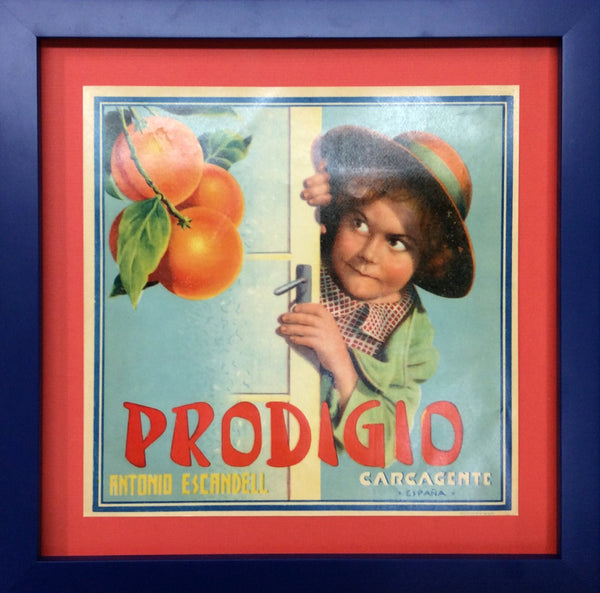 1920's Original Vintage Spanish Fruit Crate Label - Prodigio (Rascal behind door)