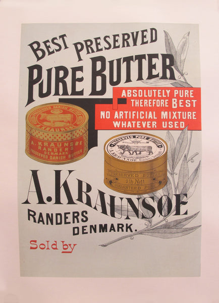 1900s Original Danish Advertisement poster - Best Preserved Pure Butter