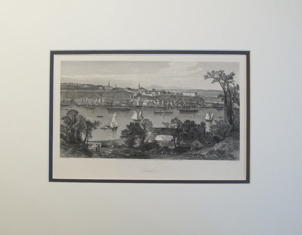1874 Engraving of Quebec City Skyline - J.D. Woodward and R. Hinshelwood