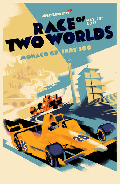 2017 Danish Modern Poster, Race of Two Worlds (Monaco GP and Indy 500)