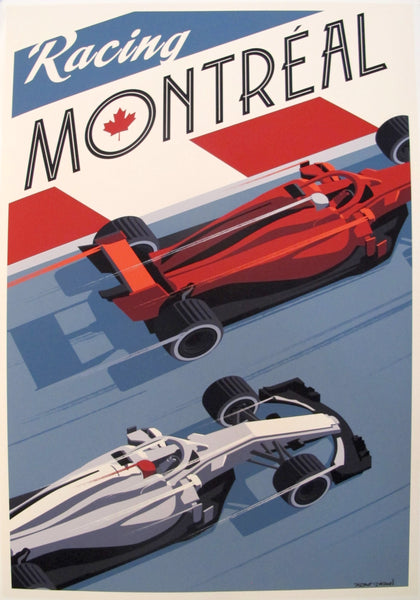 2019 Modern Retro Travel Poster - Racing Montréal