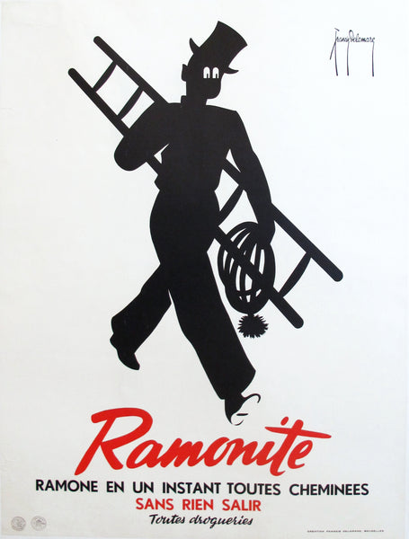 1920s Vintage Art Deco Advertising Poster, Ramonite Chimney Sweep