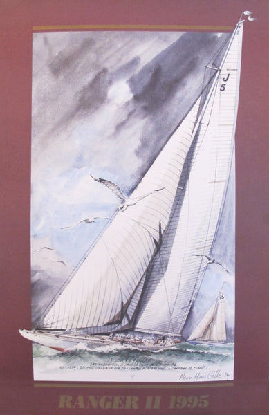 1995 French Sailing Poster, Ranger II in America's Cup