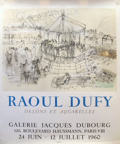1960 Original Raoul Dufy Exhibition Poster, Dessins et Aquarelles