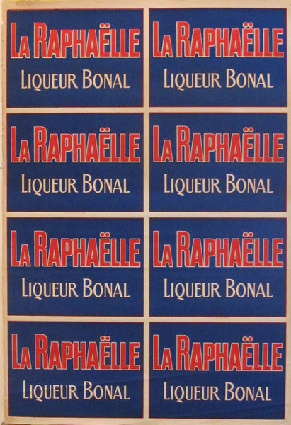1920's French Vintage Alcohol Poster, La Raphaelle - Liqueur Bonal (Blue\Red)