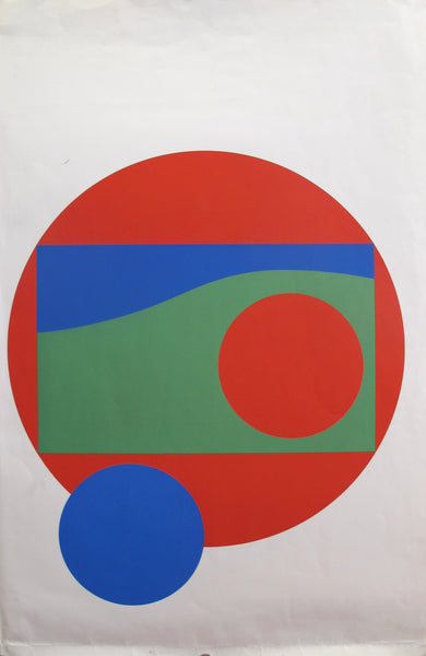 1960s Original Vintage Fiorucci Vittorio Poster, Geometric Forms (Red, Blue and Green)