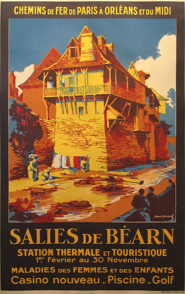 1930s Original French Art Deco Railway Travel Poster, Salies de Bearn - Roussel