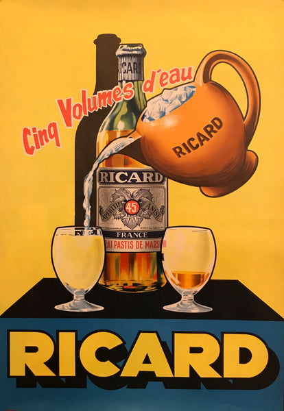 "1950's Original French Pastis \ Ricard from Marseille Art Deco Poster - Ricard ""Cinq volumes d'eau"""
