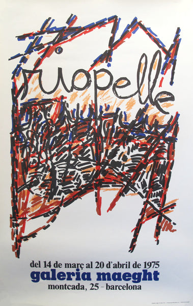 1974 Original French Exhibition Poster, Riopelle at Galerie Maeght