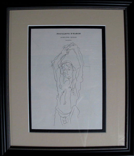 1899 Original French Framed Sketch from Cocorico - Auguste Rodin